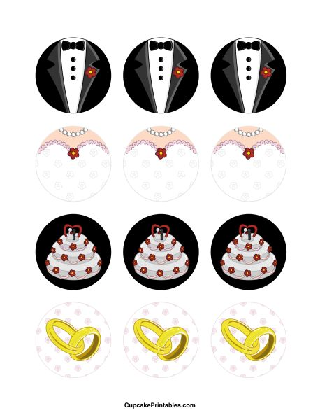 Wedding cupcake toppers. Use the circles for cupcakes, party favor tags, and more. Free printable PDF download at http://cupcakeprintables.com/toppers/wedding-cupcake-toppers/