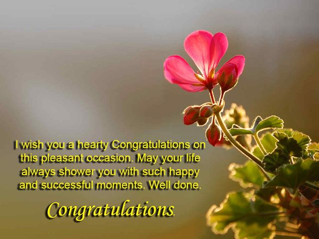 I wish you a hearty congratulations on this pleasant occasion.