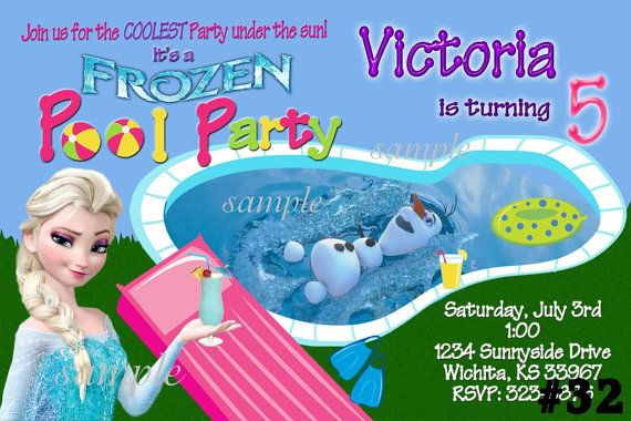 20 Frozen Invitations SUMMER Pool Party - 20 Printed Birthday Party invites (includes envelopes) Disney frozen invitation on Etsy, $20.00
