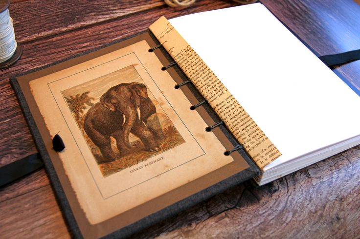 Handmade Notebook, Journal,  Sketch book, Vintage dated c 1875,  The Indian Elephant, Gifts for Him, Gifts for Her, Gifts for fathers by EvelynRoseBooks on Etsy