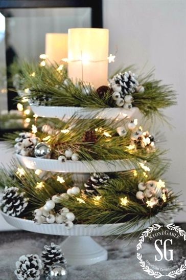 christmas table decorations christmas pedestal christmaslights rh pinterest com