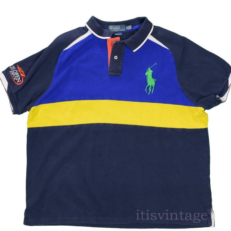 Polo Ralph Lauren Shirt 2012 USA Tennis Open Big Pony Color Block XL Custom Fit #PoloRalphLauren #Polo #tennis #2012 #usopen #ralphlauren #itisvintage #vintage #colorblock