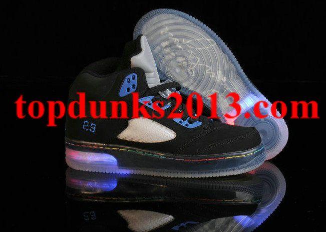 Glow In The Dark Jordan 5 Light Up Black Blue Free Shipping Air Force 1Nike Air ForceJordan Shoes