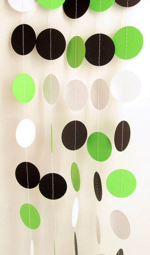 Party Decoration Green, Black & White Circle Paper Garland 10 ft - Wedding, Bridal Shower, Baby Shower, Birthday, Team Colors on Etsy, $10.00