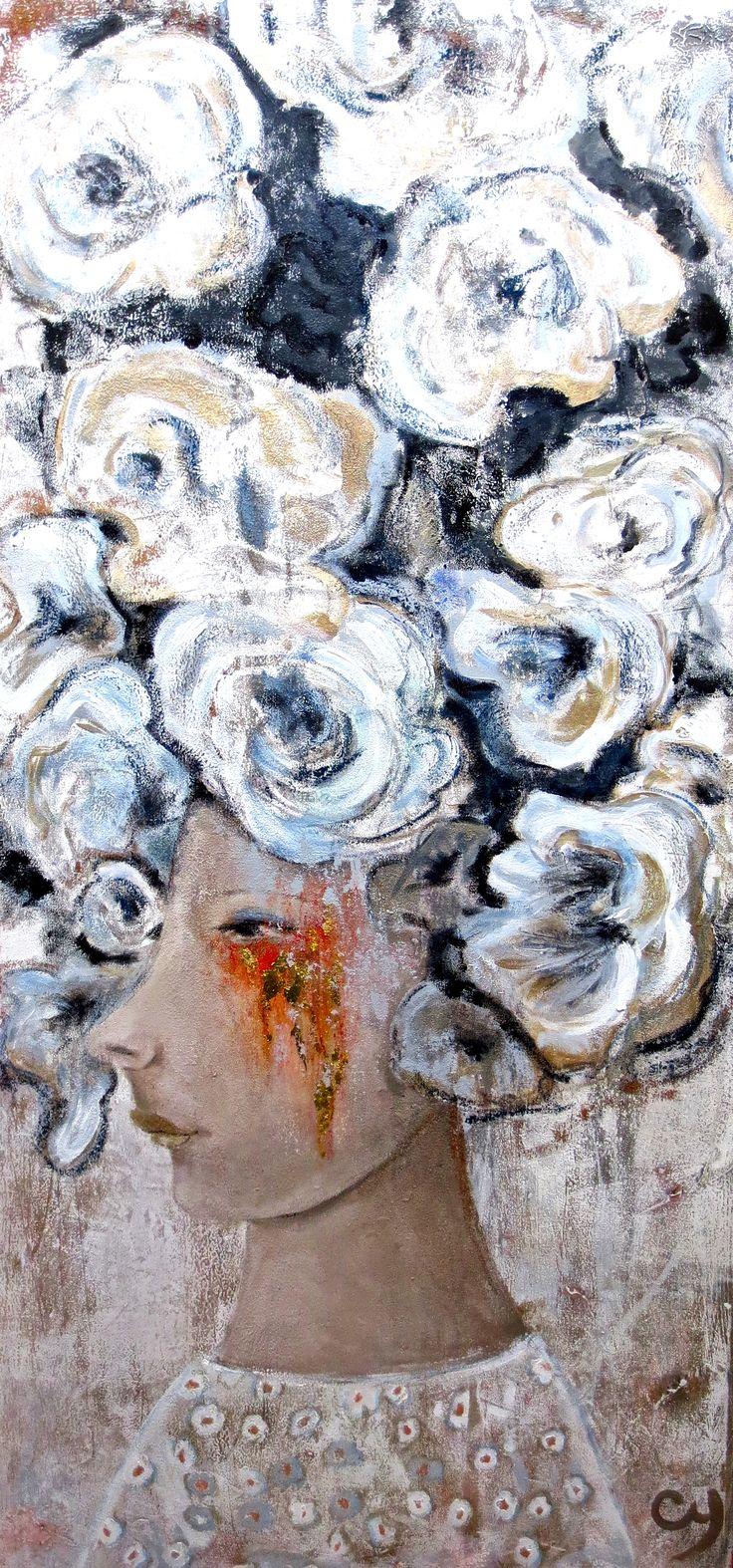 Gwendoline par Christyne Proulx / ©2016/ technique mixte sur toile / 24X48 / figurative, contemporary art, acrylique, art painting, Street Art (Urban Art), Canvas, Women, flowers, Portraits, femme, fleur, street art, patchwork, peinture, contemporain, abstrait, tableau street art,expressionnisme