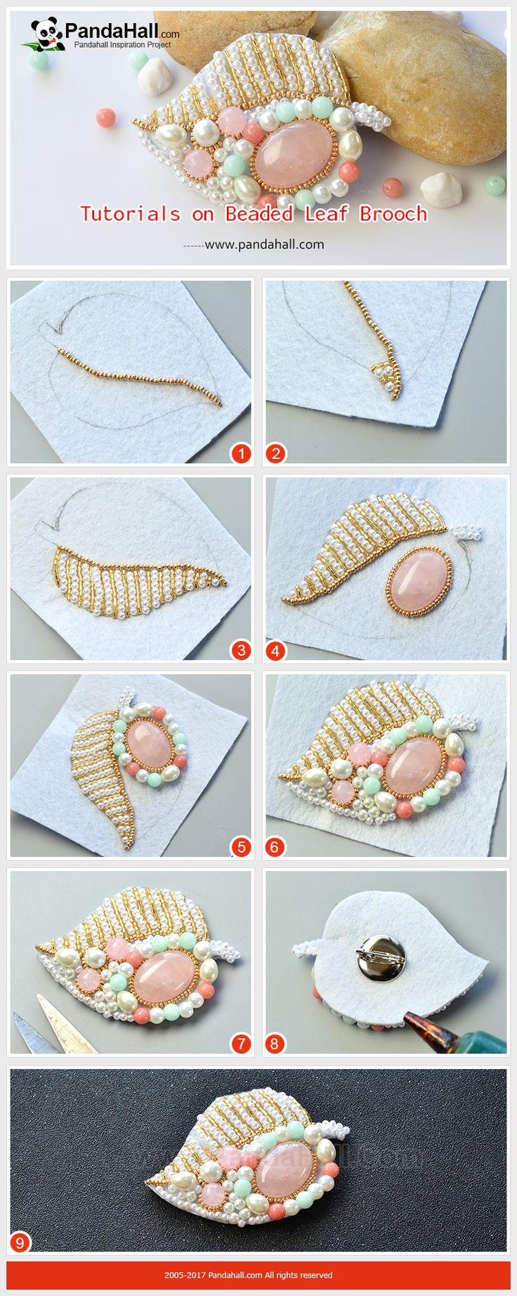 Tutorials on Beaded Leaf Brooch The main materials of the brooch are glass pearl beads, gold seed beads and gemstone beads. The making way is to braid the beads together. Wearing the brooch will show your female elegance and delicacy!