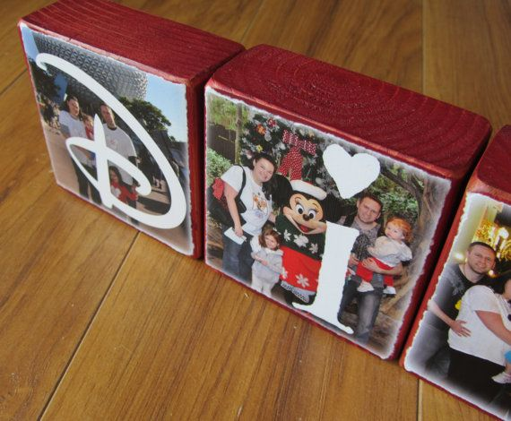 VACATION Photo Letter Blocks per block by WasteNotRecycledArt, $7.50 Waste Not Recycled Art  Disney Vacation