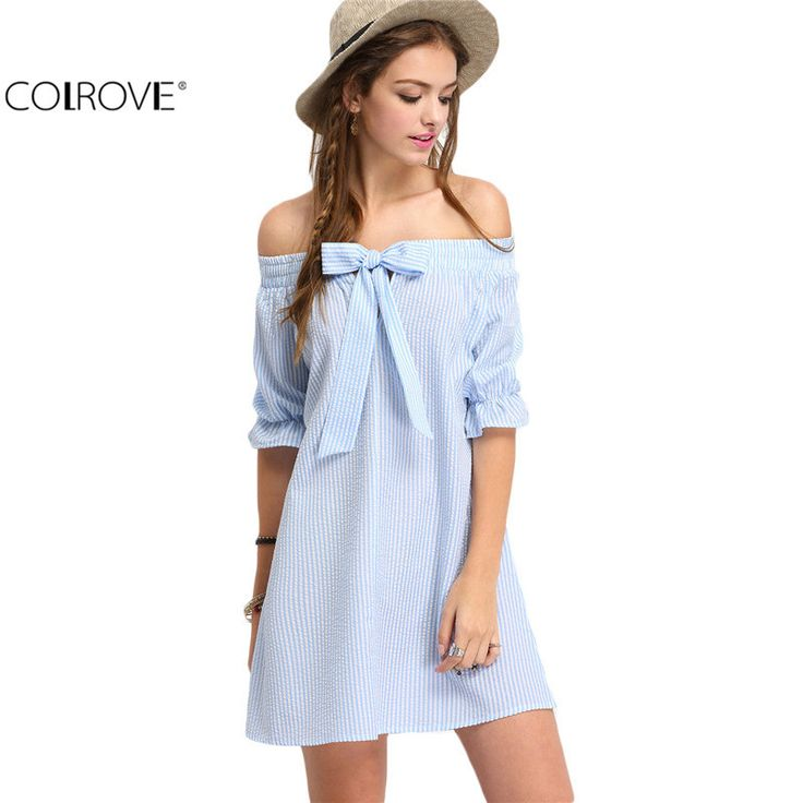 Style Sexy Women Dresses Casual 2016 New Cute Blue Bow Half Sleeve