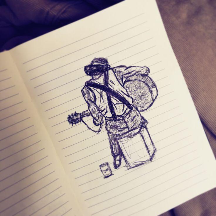 Acoustic guitar busker sketch