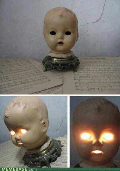 Remove an old doll head and make a night light!