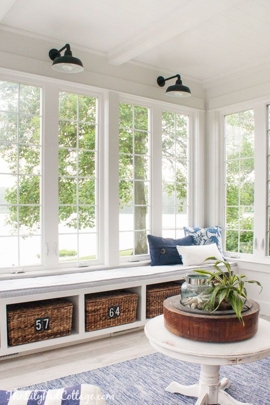 cottage storage bench / window seat | Summer Home Tour :: The Lilypad Cottage