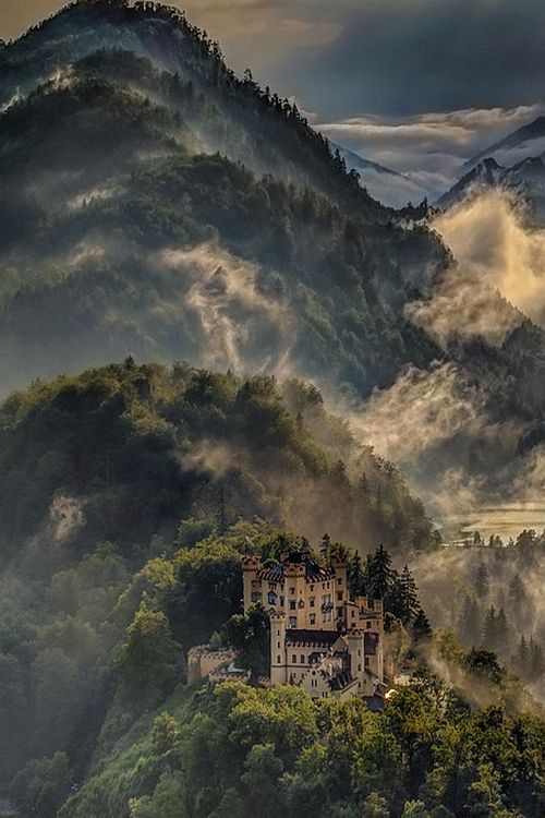 Hohenschwangau Castle, Bavaria, Germany — the castle where King Ludwig lived while his Neuschwanstein was being built next door, via ...