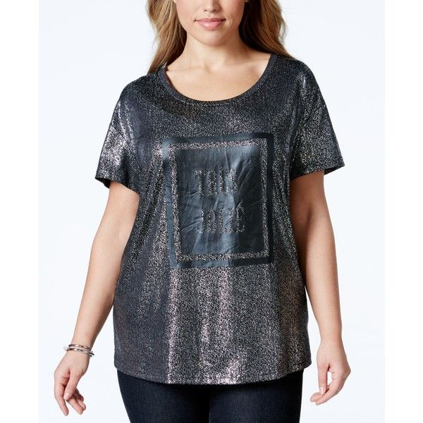 Junarose Plus Size Short-Sleeve Graphic Tee ($27) ❤ liked on Polyvore featuring plus size women's fashion, plus size clothing, plus size tops, plus size t-shirts, silver, short sleeve tops, graphic design tees, short sleeve t shirt, graphic tees and graphic print t shirts