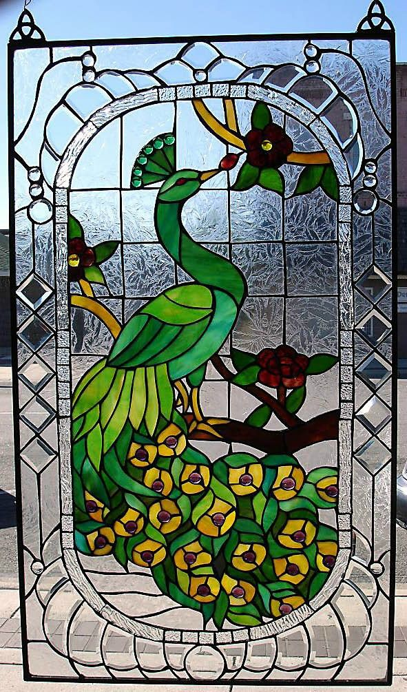 peacock stained glass