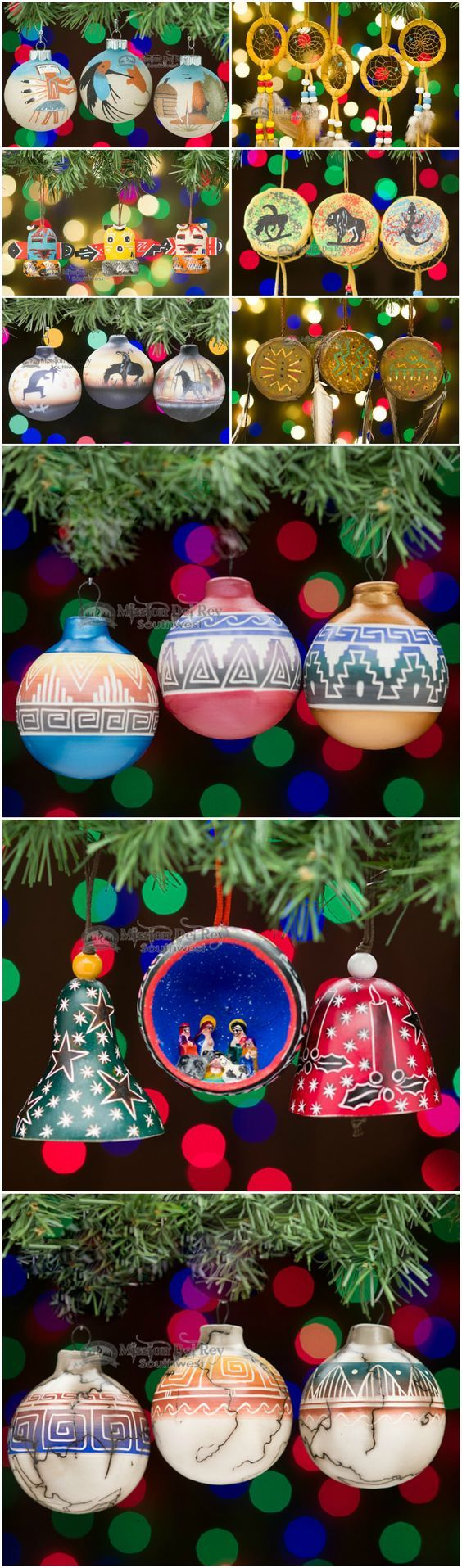 Our beautiful southwestern Christmas ornaments are the perfect decor accent for a southwestern, western or rustic style home.  Rustic ornaments add just the right touch to any tree and enhance rustic furnishings and decor.  See our entire collection of Native American pottery ornaments, southwestern ornaments and rustic decor at http://www.missiondelrey.com/rustic-southwest-christmas-ornaments/: