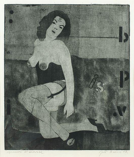 Jiří Balcar: Nestyda / 1968 / suchá jehla, akvatinta na papíře / 29,3 x 25 cm