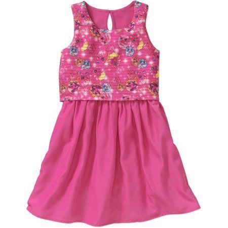 Shopkins Girls' Window Pane Mesh with Crepe De Chinese Skirt Dress, Size: 4/5, Pink