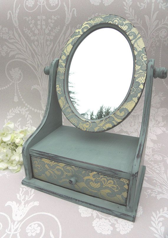Duck Egg Blue Painted Mirror with Drawer and by PaintMeNewShop, £35.00