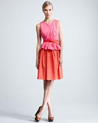 Bow-Waist Combo Dress by Paule Ka at Neiman Marcus.