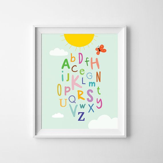 Digital print kids room decor Alphabet, nursery decor, nursery wall art - High quality PDF and JPEG files - Sizes 8 x10 - Instant download - Colors