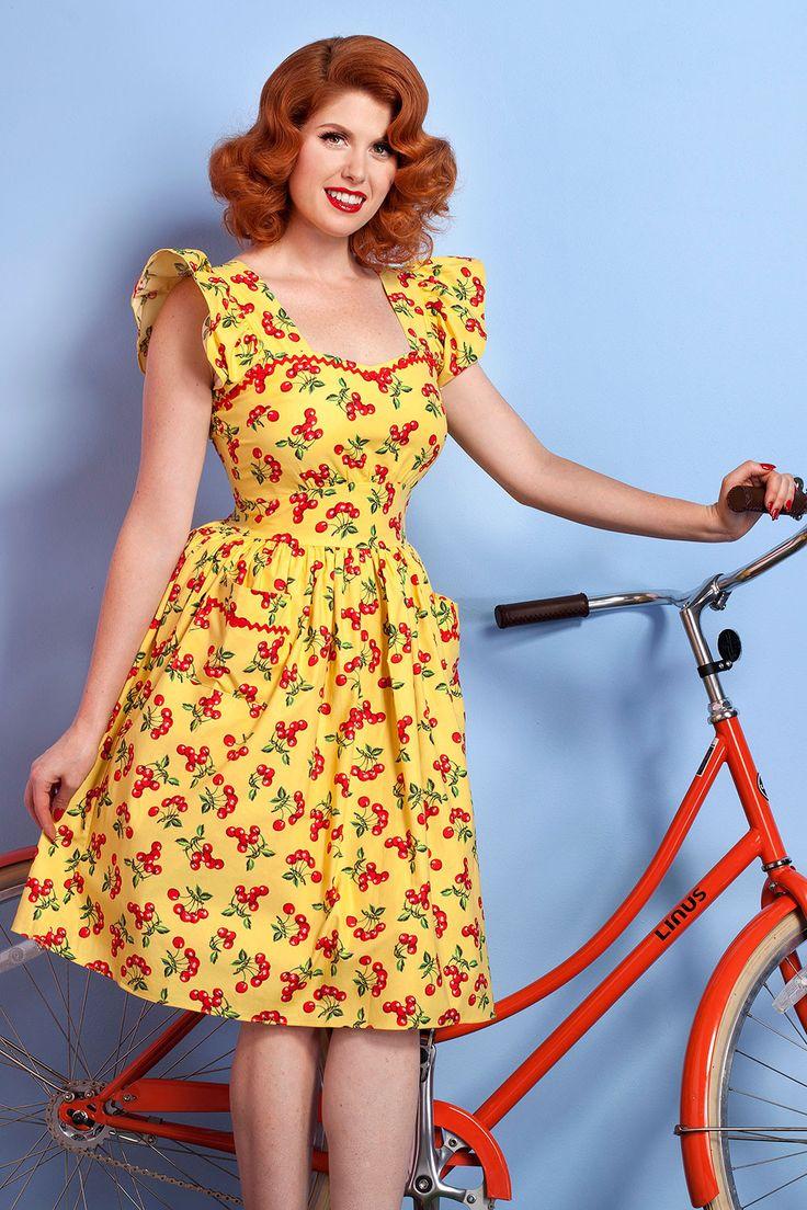 Bernie Dexter Loretta 1940's Style Dress in Cherry Print | Pinup Girl Clothing