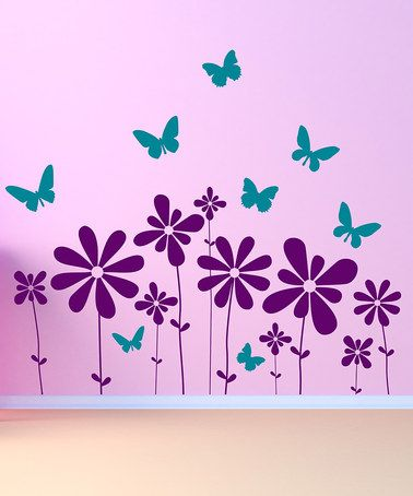 Flower Wall Decals Floral Wall Decor Butterfly Wall Decals