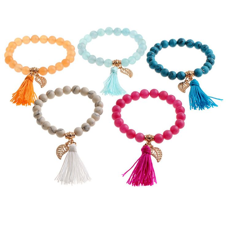 NATURAL STONE BEADS BRACELETS WITH ALLOY PENDANTS