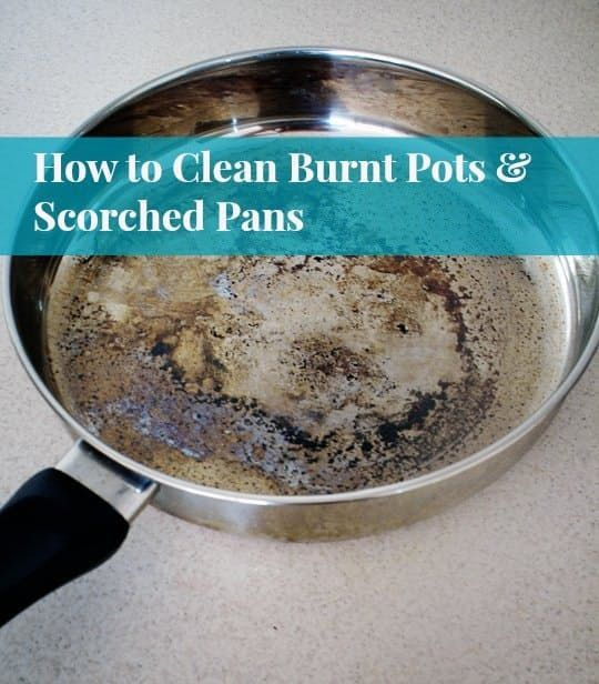 How To Clean Burnt Pots & Scorched Pans |  Add vinegar and bring to a boil. remove from heat and add a tablespoon of baking soda. Once the fizzing stops, empty the pan and scrub as normal.