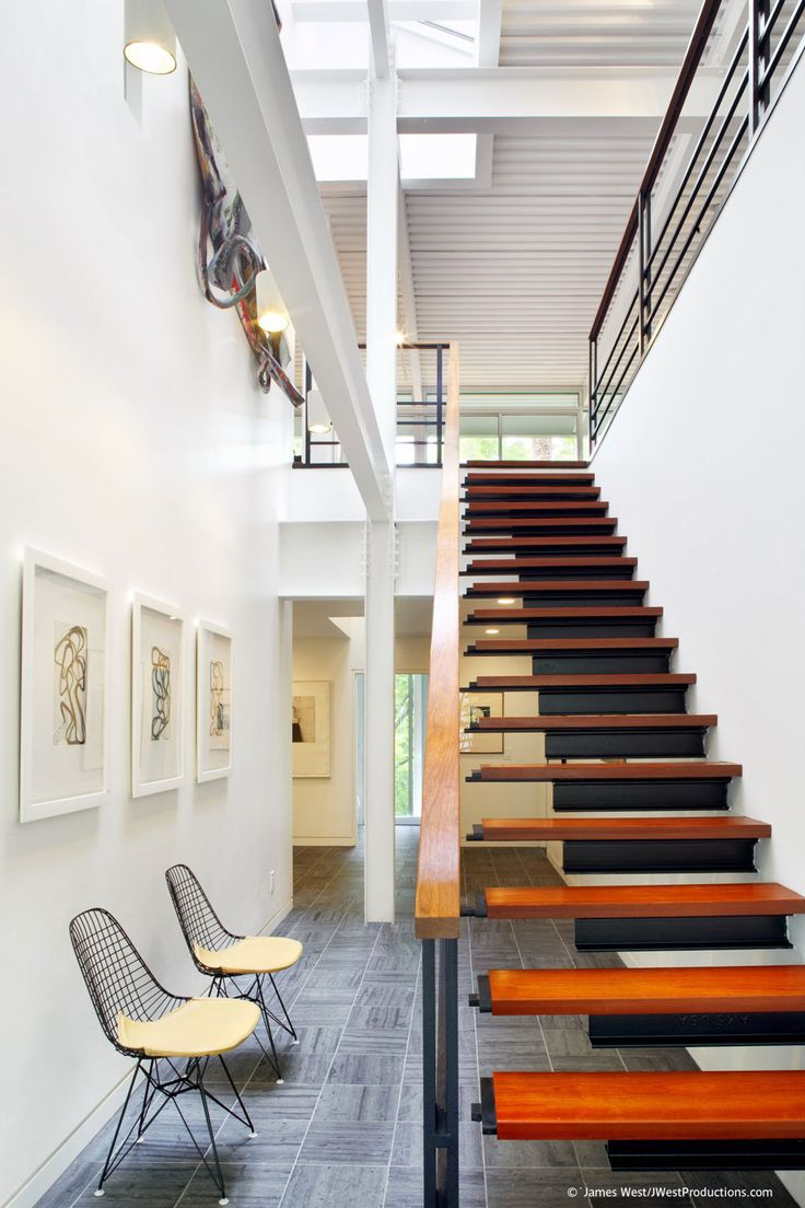 home interior design stairs%0A Modern Metal  u     Wood Stairs  Chiles Residence in Raleigh  North Carolina by  Tonic Design   Construction Love cabins AND contemporary design