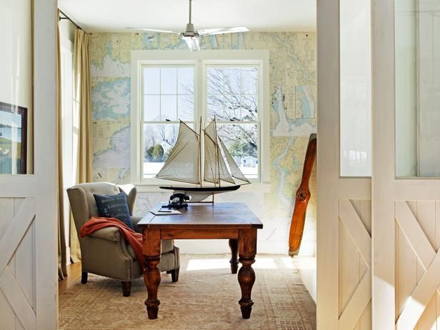 Love this room? Make it yours.    We've made our favorite photos shoppable...just browse and click to buy --> http://hg.tv/swhc: Decor, Green Home, Ideas, The Doors, Nautical Charts, Maps Wallpapers, Barns Doors, Design, Home Offices