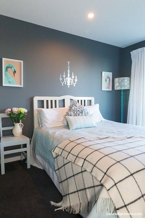 Resene quarter fuscous grey colour design interior for Grey feature wallpaper bedroom