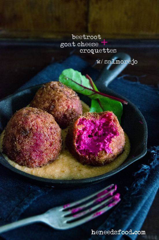Beetroot and goat cheese croquettes (goat's cheese, beetroot, plain flour, egg, panko bread crumbs, canola/peanut oil)