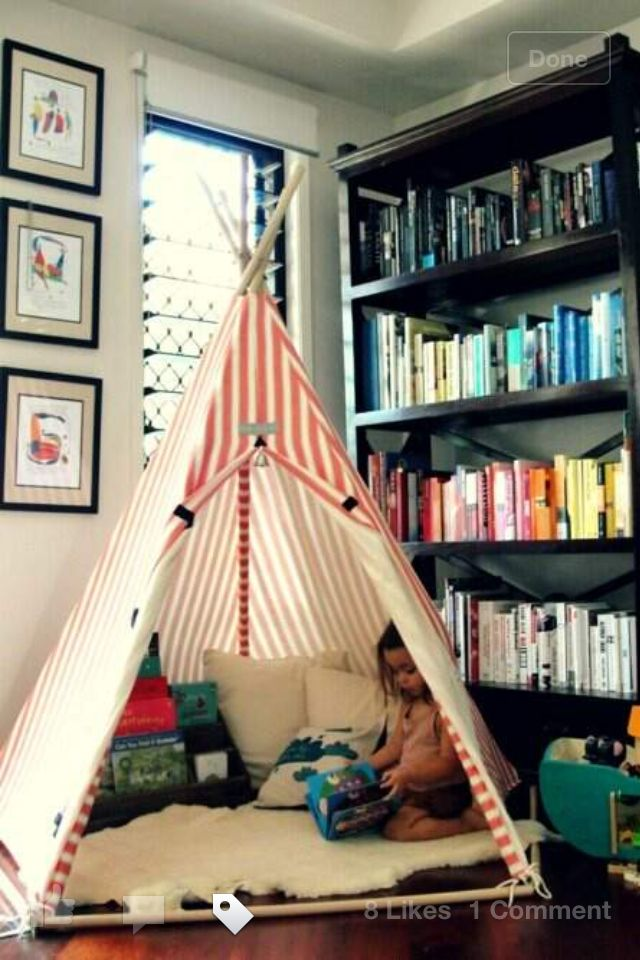 (Tre & Elaine) Kids tent -- several DIY options or some you can buy. For in the hall upstairs.