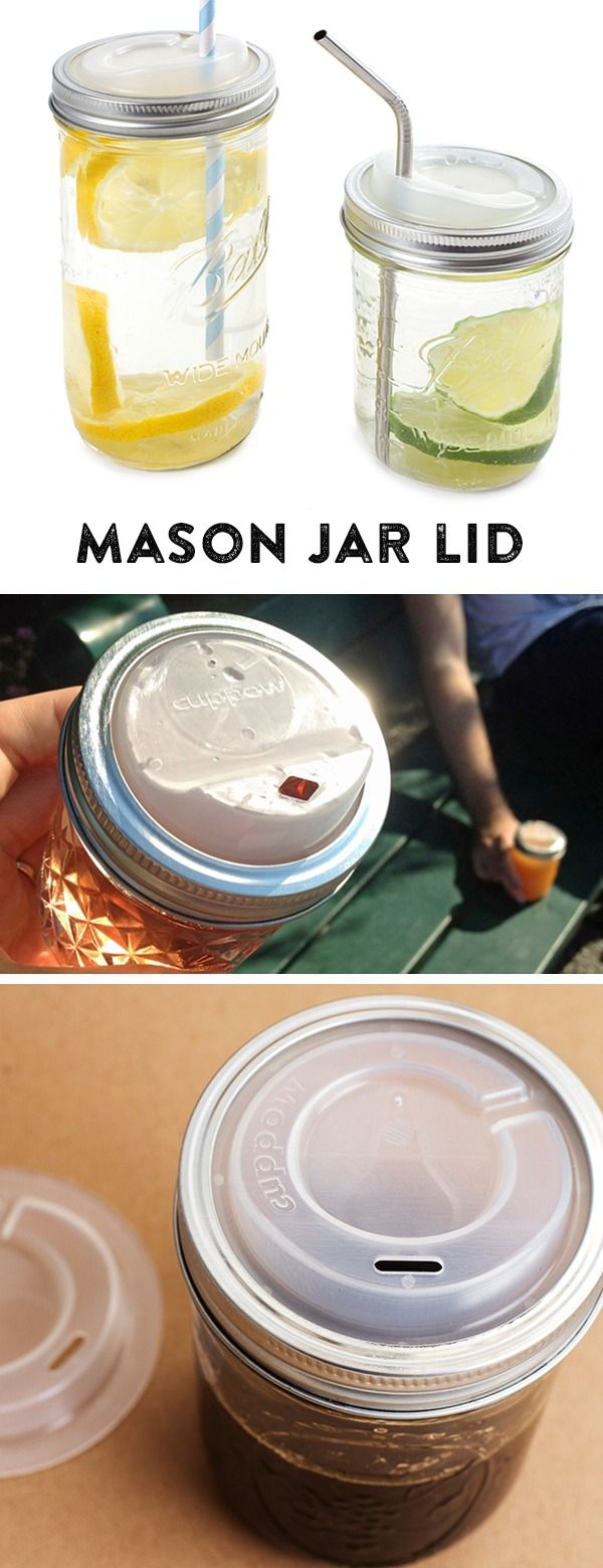This mason jar lid allows you to turn an ordinary mason jar into a travel mug or sippy cup.  Sizes for  standard mason jars and wide mouth canning jars.
