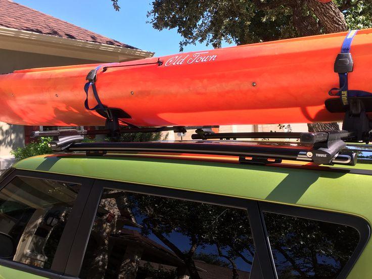 2016 Kia Soul with SSD roof rails and Thule racks.  15' Olde Town tandem kayak.