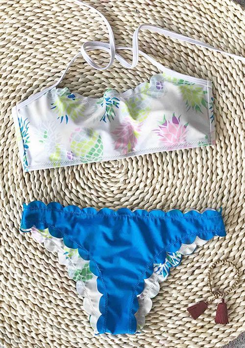 A dream vacation deserves the equally dreamy swimsuit. Hit it, $21.99! Short Shipping Time! Easy Return + Refund! Live a free life on the beach with this Fresh Pineapple Print Bikini Set. Have fun now!