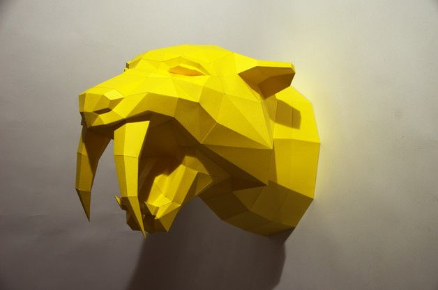 Ornaments – Make your own Sabertooth Tiger Trophy – a unique product by paperwolf on DaWanda