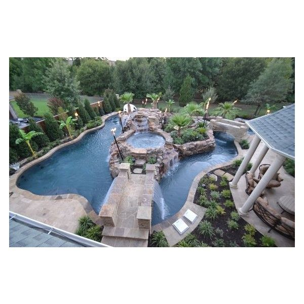 Top View Large Backyard Lazy River Pool Design With Small Pool In The... ❤ liked on Polyvore featuring home, outdoors, outdoor decor, garden decor, outdoor patio decor, patio floor tiles, outdoor garden decor and garden patio decor