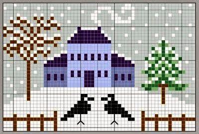 Ricami, lavori e schemi a puntocroce gratuiti: Raccolta di schemi facili a punto croce - case e giardini