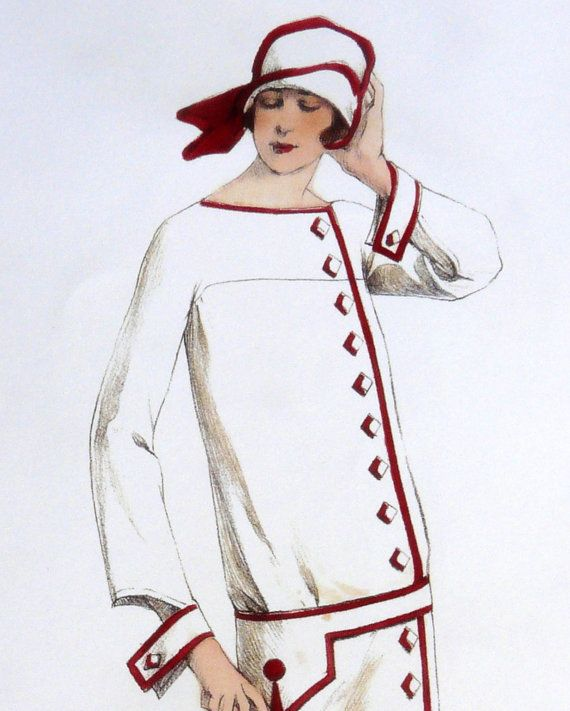 Vintage Art Deco white and ornamental red 1920s by Contrapunt, €30.00