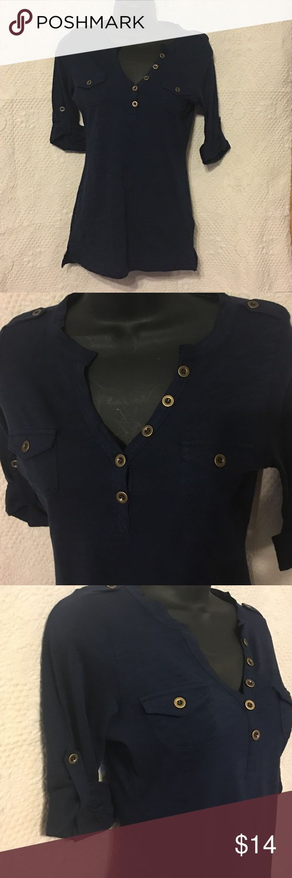 Level Up , brass buttons, roll up sleeves tee NWOT LevelUp tee roll up sleeves brass buttons. New without tags Tops Tees - Short Sleeve