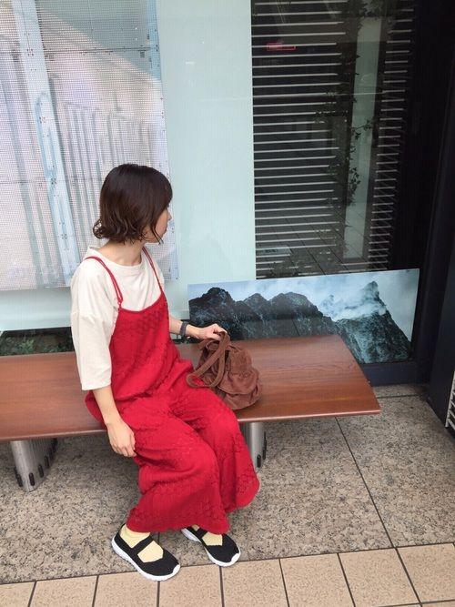 実家編・家族とお出かけコーデ 横浜みなとみらいへ🛳 田舎では着れない発色の良い赤サロペットを思いき