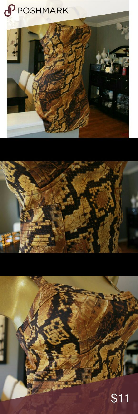 Xoxo Snake print dress Brown snake skin, say dress with a bustier look top Lightly worn Zipper back XOXO Dresses Mini