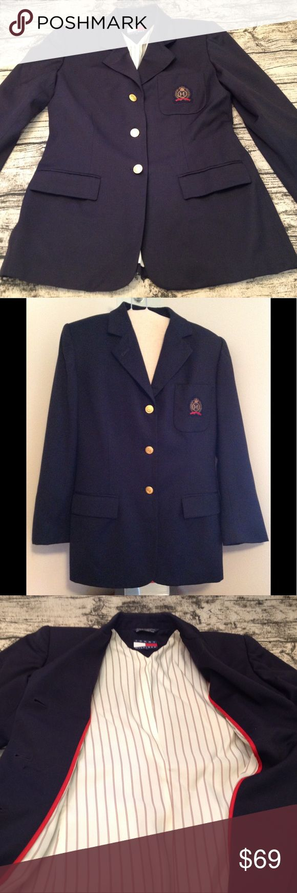 "Tommy Hilfiger Blazer Navy blue lined Blazer with gold buttons and crest logo on pocket. Very classy and would look great with a skirt, dress pants or your favorite jeans. Size 8 and measures 16"" from armpit to armpit, 16"" across shoulder, 28"" L from shoulder to hem and sleeves are 22"" L. Tommy Hilfiger Jackets & Coats Blazers"