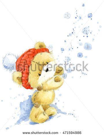 Orso carino.  Cartolina di Natale con simpatico orsacchiotto.  Illustrazione dell'acquerello Teddy Bear.  Sfondo per Capodanno carta di invito.