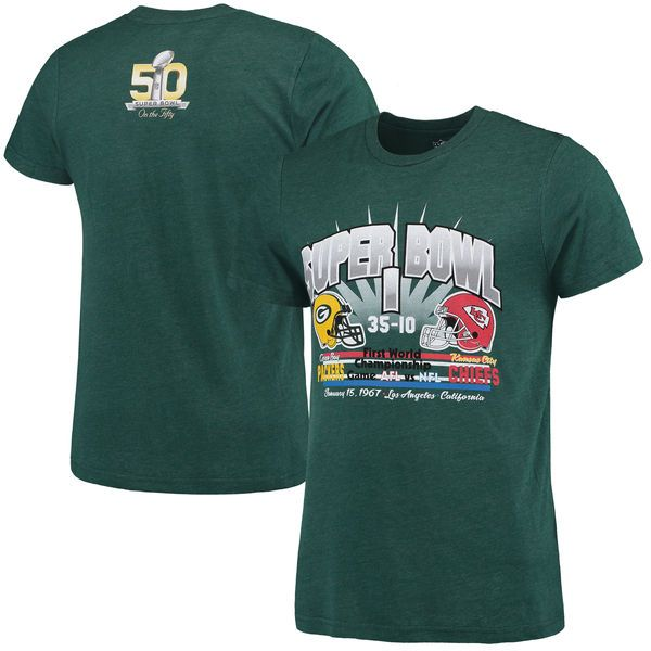 Green Bay Packers G-III Sports by Carl Banks On The Fifty Head to Head Super Bowl I Championship Helmet Tri-Blend T-Shirt - Green - $22.99