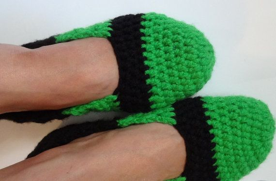 Crochet Slippers for Women Green Black  Home Shoes Spa by Ifonka, $18.00