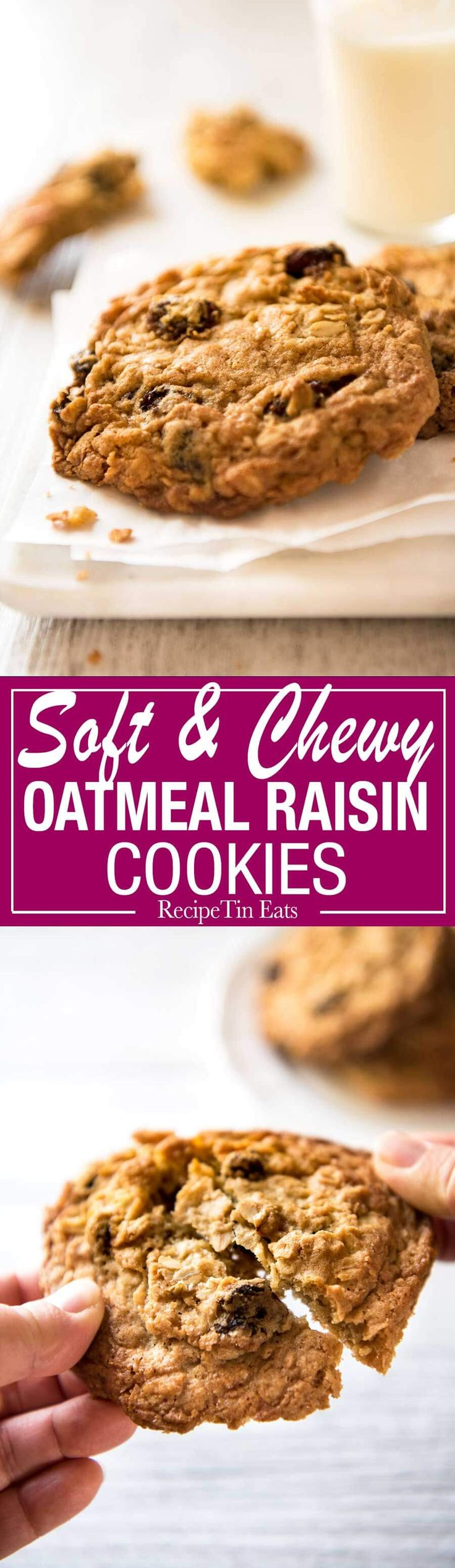 Oatmeal Raisin Cookie recipe - for perfect big, soft, moist, CHEWY Oatmeal…