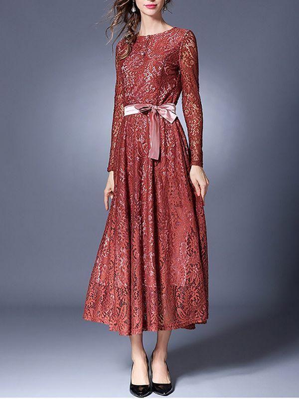 e43e4228f8e Midi Dress A-line Daytime Dress Long Sleeve Lace Guipure lace Prom Dresses