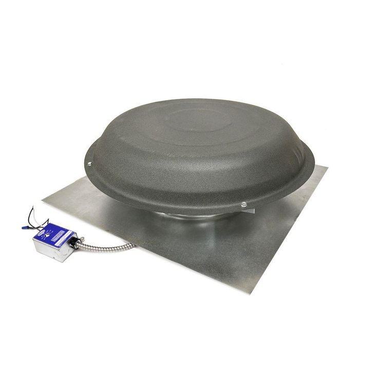 1600 CFM Power Roof Mount Vent in Shingle Match Weatherwood, Gray